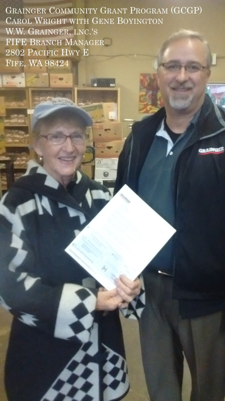 Graham-Kapowsin Community Council received $5,000.00 from The Grainger Foundation, an independent, private foundation in support of the Graham Washington's Harvest House Food Pantry's Backpack Program for student meals. This donation was recommended by Gene Boyington, Branch Manager of W.W. Grainger, lnc.'s FIFE location.